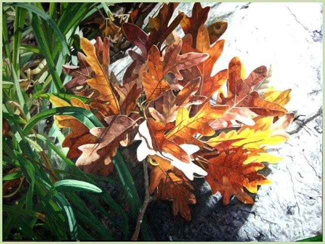 Art: Oak Leaves and Rock by Artist Harlan