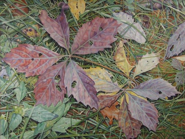 Art: Virginia Creeper and Grasses Oil Painting by Artist Harlan