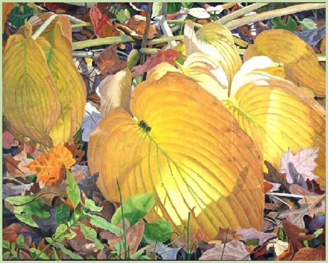 Art: Golden Hostas by Artist Harlan
