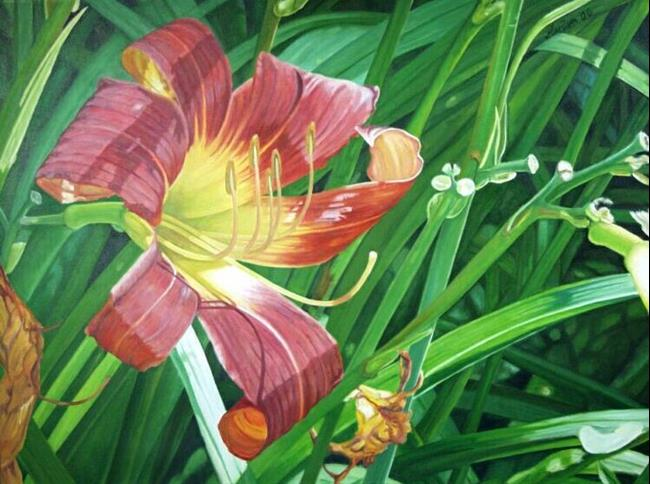 Art: Yellow Red Lily by Artist Harlan