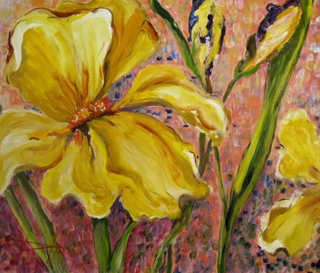 Art: Iris on the Pink by Artist Delilah Smith