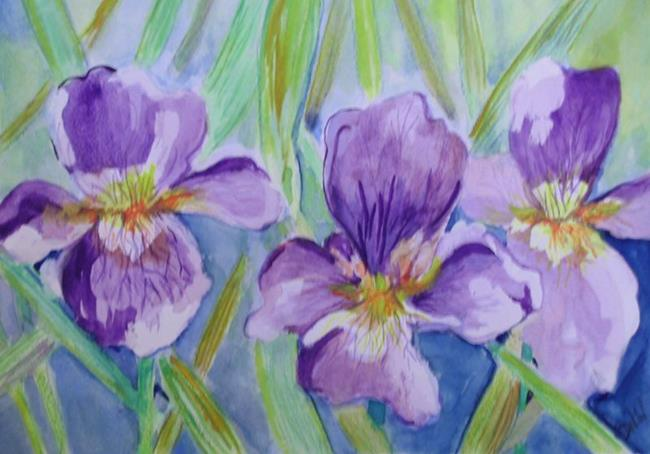Art: Three Iris-SOLD by Artist Delilah Smith