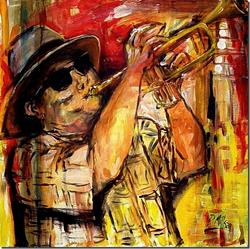 Art: The Horn Player - SOLD by Artist Diane Millsap