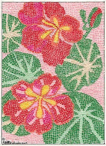 Art: RED EMPRESS NASTURTIUM PAPER MICRO MOSAIC by Artist Theodora Demetriades