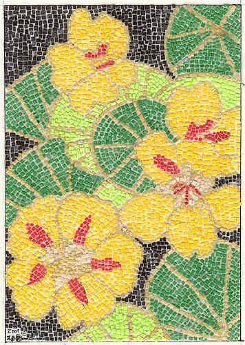 Art: Golden Nasturtium Micro Paper Mosaic by Artist Theodora Demetriades