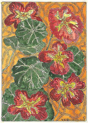 Art: NASTURTIUMS,RED EMPRESS by Artist Theodora Demetriades