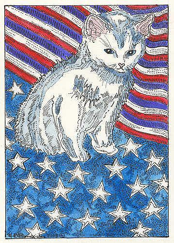 Art: KITTY AND THE FLAG by Artist Theodora Demetriades