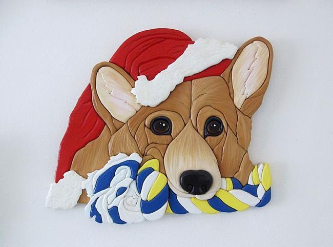 Art: Santa Corgi's Present....Original Intarsia Art by Artist Gina Stern