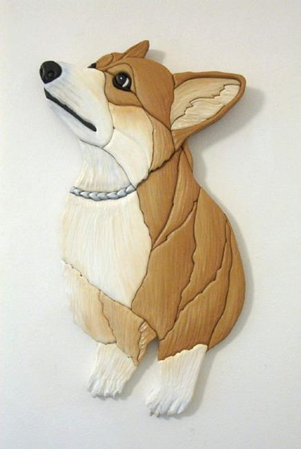 Art: JUST WAITING CORGI ORIGINAL INTARSIA  PAINTED ART by Artist Gina Stern