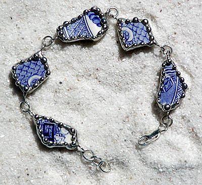 Art: Blue Willow Broken China Bracelet by Artist Dianne McGhee