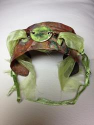 Art: Form Fold Enamel & Fabric Cuff Bracelet by Artist Shoshana Avramovitz