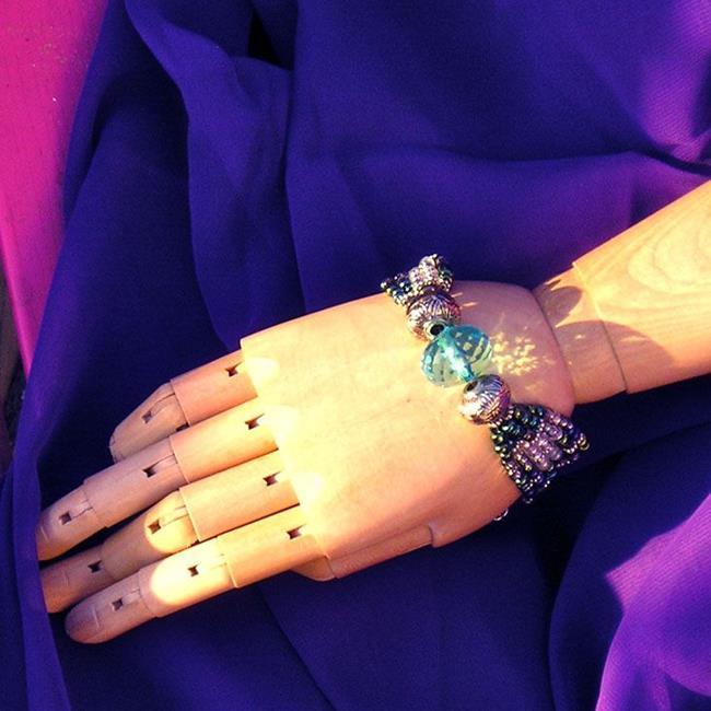 Art: Blue Ball Bracelet by Artist Alma Lee