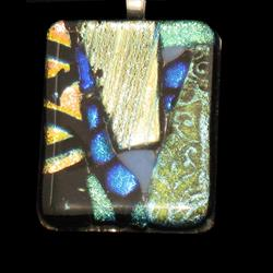 Art: Quilted Dichroic Pendant by Artist Dorothy Edwards