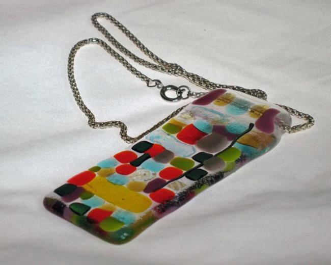 Art: Mosaic Fused Glass Pendant by Artist Dorothy Edwards