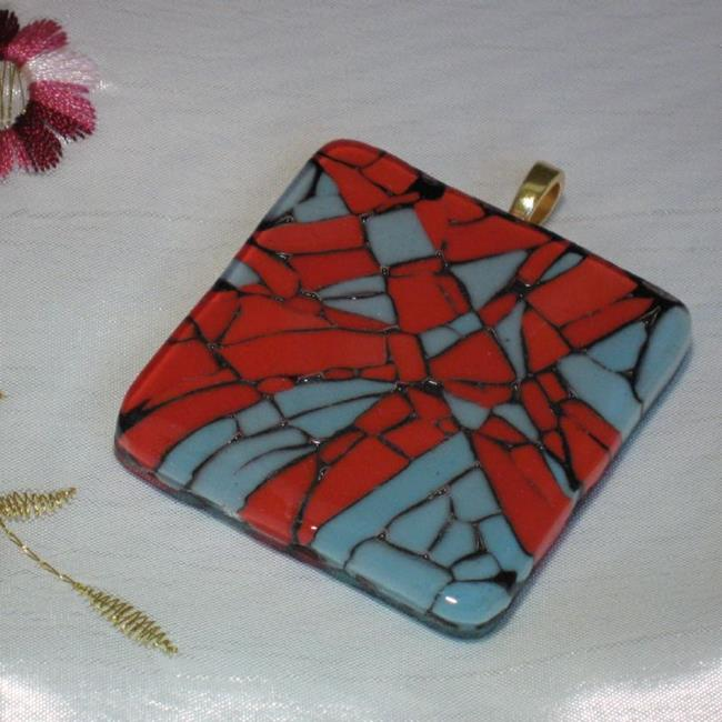 Art: Red and Turquoise Mosaic Pendant by Artist Dorothy Edwards