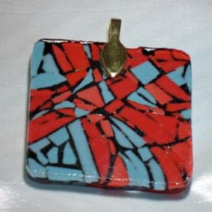 Detail Image for art Red and Turquoise Mosaic Pendant
