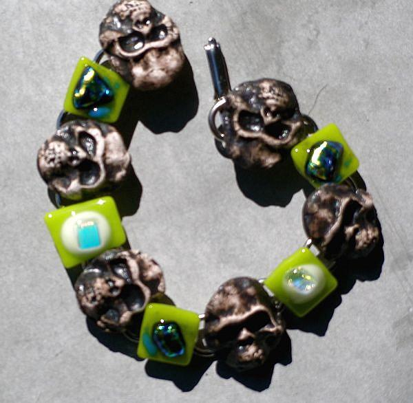 Art: Day of the Dead Bracelet by Artist Deborah Sprague