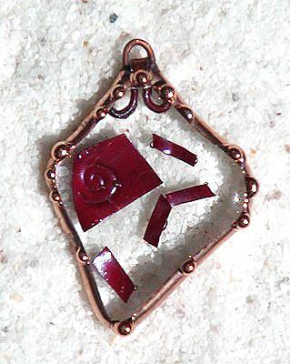 Art: Fused Glass Copper Flecks Pendant by Artist Dianne McGhee