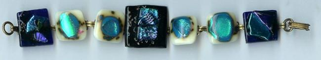 Art: Fused Glass Blue Bracelet by Artist Deborah Sprague