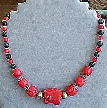 Art: Coral & Jade necklace by Artist Ulrike 'Ricky' Martin
