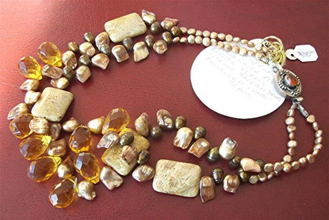 Art: fossilized coral , citrine and pearl  necklace by Artist Ulrike 'Ricky' Martin