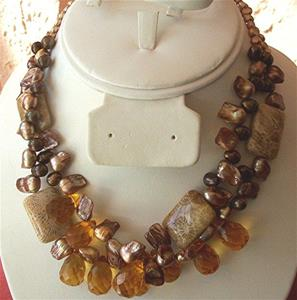 Detail Image for art fossilized coral , citrine and pearl  necklace