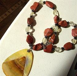 Art: Goldstone Necklace with Shell Pendant by Artist Ulrike 'Ricky' Martin