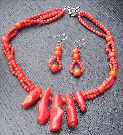 Art: Red Coral Necklace and Earring set by Artist Ulrike 'Ricky' Martin