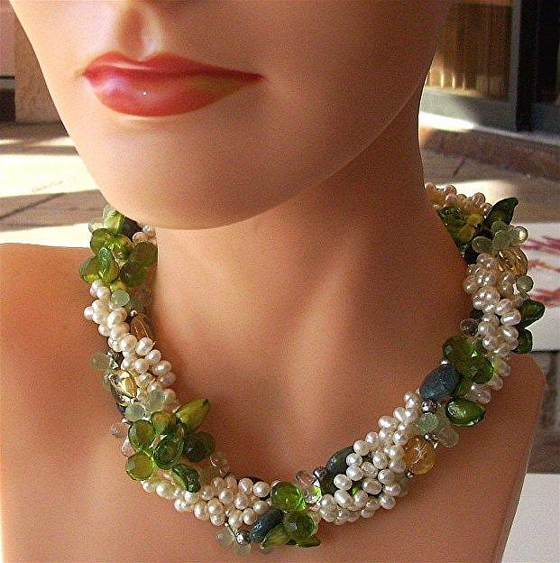 Art: 5 strand pearl and gemstone necklace by Artist Ulrike 'Ricky' Martin