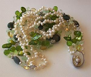Detail Image for art 5 strand pearl and gemstone necklace
