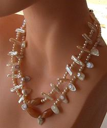 Art: Freshwater Pearl and Carnelian Necklace by Artist Ulrike 'Ricky' Martin