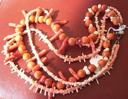 Art: 3 strands of pink coral necklace by Artist Ulrike 'Ricky' Martin