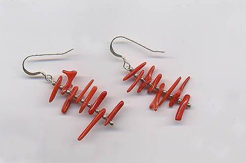 Art: CORAL AND STERLING SILVER EARRINGS by Artist Ulrike 'Ricky' Martin