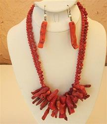 Art: Red Coral necklace and earring set  (sold) by Artist Ulrike 'Ricky' Martin