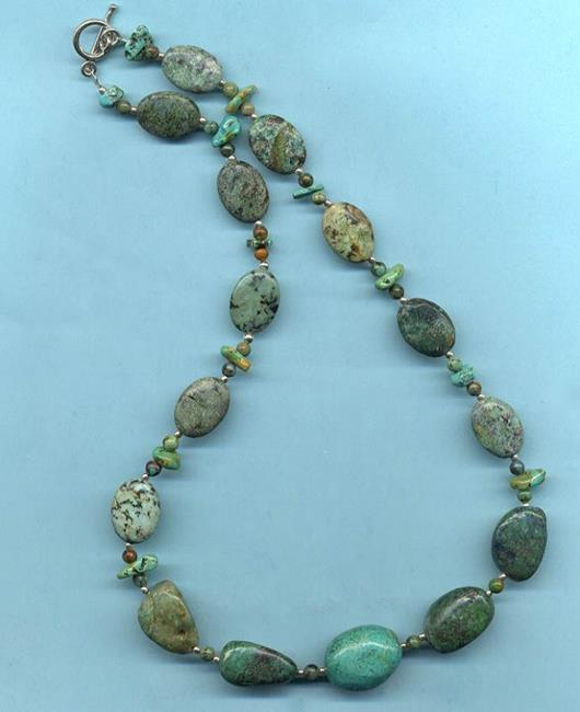 Art: Turquoise nugget Necklace and earring set by Artist Ulrike 'Ricky' Martin