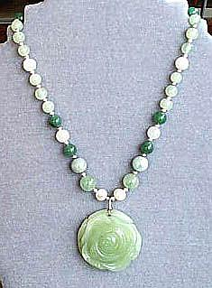Art: Jade and Sterling Silver Necklace by Artist Ulrike 'Ricky' Martin