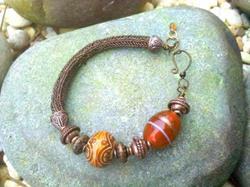 Art: Viking Knit Bracelet With Orange Lampwork & Mood Bead by Artist Shoshana Avramovitz