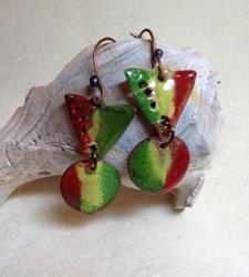 Art: Enamel Earrings Xmas Colors by Artist Shoshana Avramovitz