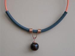 Art: Copper Marble Choker necklace by Artist Sherry Key