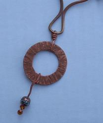 Art: WOODEN BEADS N COPPER-Necklace w/ Pendant by Artist Sherry Key