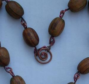 Detail Image for art WOODEN BEADS N COPPER-Necklace w/ Pendant