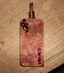 Art: Copper/Garnet Pendant by Artist Sherry Key