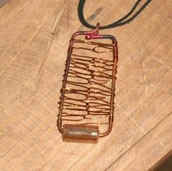Art: Copper Candy Pendant by Artist Sherry Key