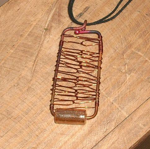Art: Copper Candy Pendant by Artist Sherry Key