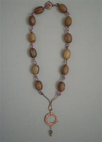 Art: Wood Beads N Copper Necklace by Artist Sherry Key