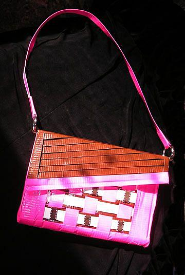 Art: Brown and Pinky purse duct tape by Artist Alma Lee
