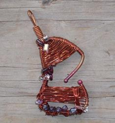 Art: Abstract Wire Guitar Pendant by Artist Sherry Key