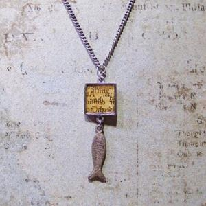 Detail Image for art Manuscript Milagro (fish) charm necklace