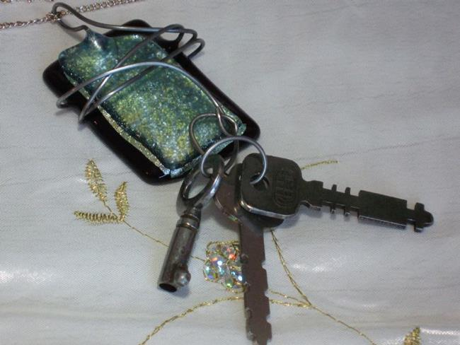 Art: 3 Key Fused Glass Necklace by Artist Dorothy Edwards