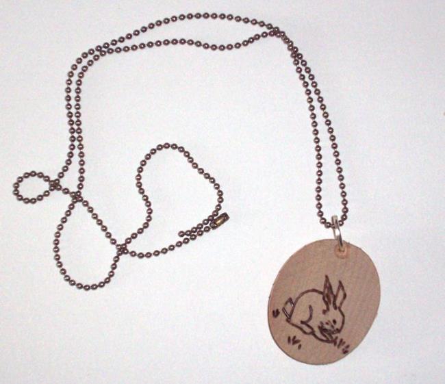 Art: Rabbit Pyrography Necklace by Artist Emily J White